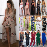 Women's Floral Playsuit Holiday Summer Beach Jumpsuit Romper Long Trousers Dress