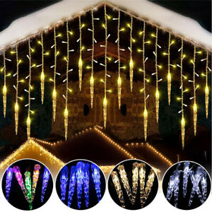 LED Curtain Icicle Fairy Lights In Falling Snow Christmas Outdoor Garden Decor