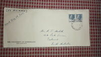 1957 AUSTRALIAN FIRST DAY COVER FDC, PAIR OF 10d QEII STAMPS, QLD UNI BRISBANE
