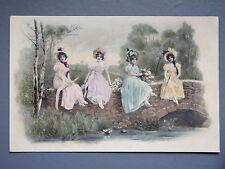 R&L Postcard: M M Vieene 257 Edwardian Chromo, Glamour Ladies on Bridge