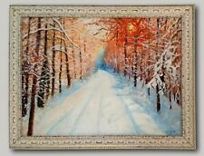 Winter Walk - Original Oil Painting Framed & Signed Snow Trees Nature Landscape