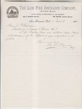 1885 LETTERHEAD - THE LION FIRE INSURANCE COMPANY - PACIFIC BRANCH SAN FRANCISCO