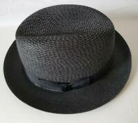 Dobbs Fifth Avenue Madison Black Straw Fedora Hat Size 6 7/8 EUC