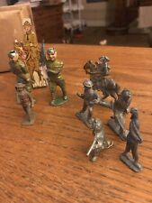 Lot 9 Lead Metal Soldiers WWI WWII Flag Infantry Horse Cavalry