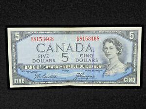 1954 $5 Dollar Canada Banknote Devil's Face C/C8153468 Beattie Coyne EF+ Grade
