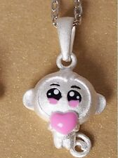 """Ethnic style Sterling Silver Pink Monkey pendant necklace with 18"""" Chain Box L26"""