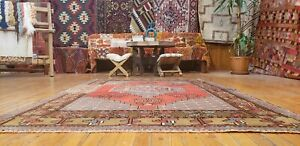 Beautiful Antique Cr1930-1939s Wool Pile Natural Color Oushak Area Rug 4x6ft