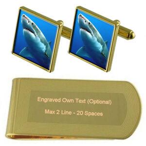 Ocean Great White Shark Gold-Tone Cufflinks Money Clip Engraved Gift Set
