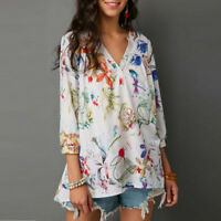 Women's Summer V Neck Printed Three Quarter Loose Casual Top Tee T-Shirt Blouses
