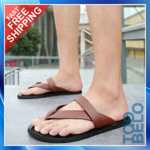 Mens Summer Fashion Beach Outdoor Leather Sandals Strap Shoes Anti-Slip Slippers