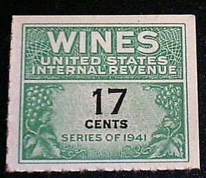Wines & Cordials Tax Stamp, Scott RE186 MNGAI F-VF