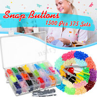 375/150 Sets DIY Craft T5 Snap Buttons Starter Plastic Poppers Fasteners  z e ~