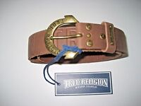 True Religion Womens Brown Embossed leather belt engraved Buckle NWT Free Ship