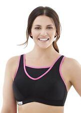 Glamorise Women's No-Bounce Full-Support Sport Bra, Black/Pink, 50DD