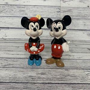 Vintage Minnie And Mickey Disney Figurine Ceramic Set Japan