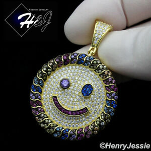 MEN WOMEN 925 STERLING SILVER ICY COLORED CZ GOLD HAPPY FACE ROUND PENDANT*GP266