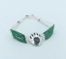 925 Sterling Silver 5 Strand Beaded Natural Malachite Bear Claw Paw Bracelet