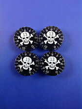 A Set of 4 Amber Black Style Guitar Speed Knobs with White Skull Pattern