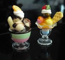 Set of 2 Ice Cream Sundae in Glass Dollhouse Miniature Food Supply Deco-ICEF