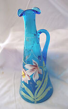 Circa 1910 Hand Blown & HP Beaumont Blue Glass Decanter w Handle