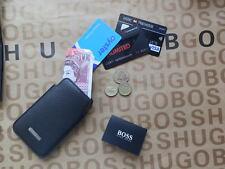 Hugo Boss Para Hombre Gris, negro etiqueta de cuero notas Monedas crédito Id Card Sleeve Cartera