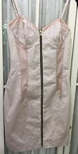 ASOS CORSET STYLE DRESS.PALE PINK COTTON, FULLY LINED, THIN ADJ STRAPS,UK SIZE 8