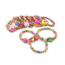 12PC Kids Girl Boy Elastic Wood Wristbands Bracelets Birthday Xmas Gift Jewelry