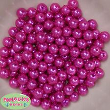 10mm Hot Pink Pearl Finish Acrylic Bubblegum Beads Lot 50 pc.Chunky