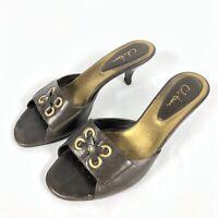 Cole Haan Women Brown Kitten Heel Slides Sandal Shoe Size 7.5B Open Toe