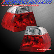 99-01 BMW E46 3-SERIES 4DR SEDAN RED CLEAR TAIL LIGHTS PAIR EAGLE EYES MADE