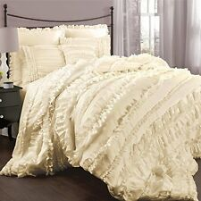 CHIC RUFFLES IVORY ** King ** COMFORTER SET : CREAM COTTAGE RUFFLED BEDDING