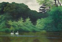 Oil painting swans swimming lake landscape Russian Shishkin Levitan Hand painted
