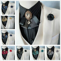 Retro Men or Women Wedding Clip On Neck Bow Tie Ribbon Rhinestone Necktie Brooch