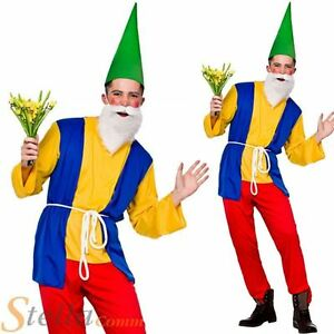 Mens Funny Garden Gnome Costume Dwarf Fairy Tale Fancy Dress Adult Outfit