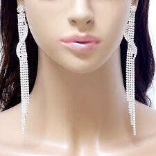 "#E121T Women 5.5"" Long Non-pierced CLIP ON EARRINGS Crystal Chandelier Bridal"