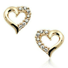 Rose gold finish heart stud earrings clear cubic zirconias quality UK jewellery