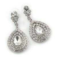 Bridal/ Prom/ Wedding Clear Austrian Crystal Teardrop Earrings In Rhodium