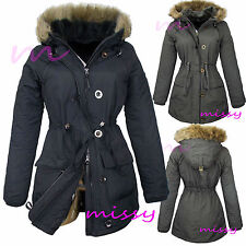 NEW Womens MILITARY  PARKA Ladies PADDED JACKET COAT QUILTED Size 8 10 12 14 16M