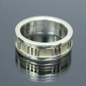 TIFFANY & CO. Atlas Roman Numeral Band Ring Sterling Silver 925 Size 5