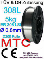 V2A 308L Edelstahl 1.4316 MT-308L Schweissdraht 0,8mm 5kg MIG MAG Draht Rolle