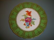"Vintage Made In Czechoslovakia Floral Plate Green Border Gold Trim 11"" Charger"