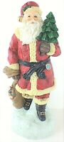 "Whimsical Folk Art Santa Figurine Old World with Tree and Toy Bag 9 3/4"" Tall"