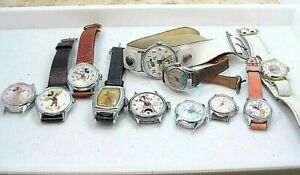 11PC VINTAGE MICKEY MOUSE MISC DISNEY WIND UP WRISTWATCH GROUP  AS IS