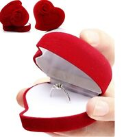 10X Velvet Cover Red Heart Rose Shape Jewelry Box Ring Show Display Storage Case