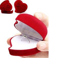 10PCS Red Rose Heart Ring Earring Display Jewelry Box Gift Velvet Storage Case