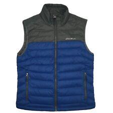 Eddie Bauer Mens M Down Vest Puffer Full Zip Pockets Grey Blue EUC