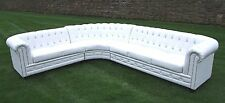 White Bycast Leather Chesterfield Corner Group - Crystal Diamanté Buttons - New!