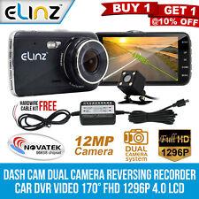 Dash Cam Dual Camera Reversing Recorder DVR Video 170° FHD 1296p 4.0 LCD Elinz