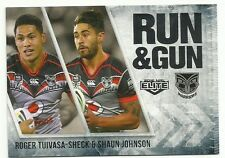 2016 NRL ELITE RUN & GUN NZ WARRIORS ROGER TUIVASA SHECK SHAUN JOHNSON RG29 CARD