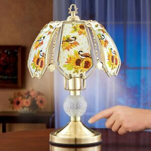 Thanksgiving Harvest Chickadee Gold-Toned Touch Base Glass Panel Table Lamp